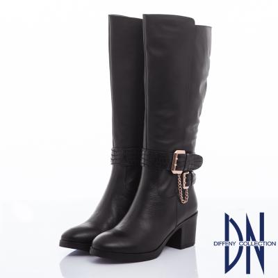 DN 俐落經典 牛皮拼接金屬釦粗跟長靴-黑