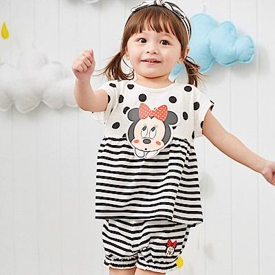 Disney baby米妮系列經典條紋泡泡短褲 黑色