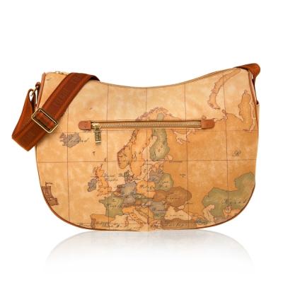 Alviero Martini 義大利地圖包 弧形拉鍊側背包(大)-地圖黃