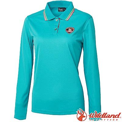 Wildland 荒野 0A61619-67湖水綠 女Coolmax長袖POLO衣
