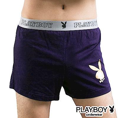 PLAYBOY 燙金兔頭Logo素面針織四角褲-單件-深紫