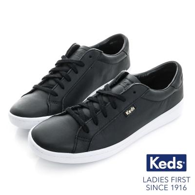 Keds 復古運動皮質綁帶休閒鞋-黑皮