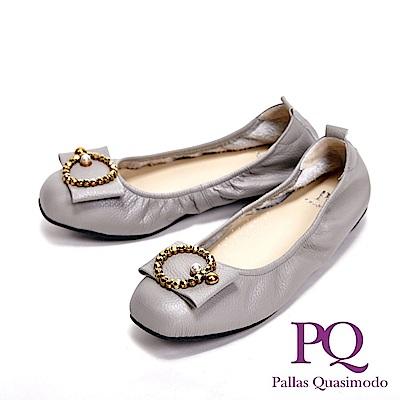 PQ MIT珍珠O飾造型方頭娃娃 女鞋-灰(另有黑)