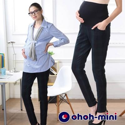 ohoh-mini-孕婦裝-街頭率性磨毛格紋孕婦褲-深藍