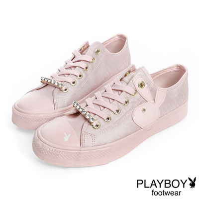 PLAYBOY 光采搖滾 可拆鞋帶釦亮粉帆布鞋-粉(女)