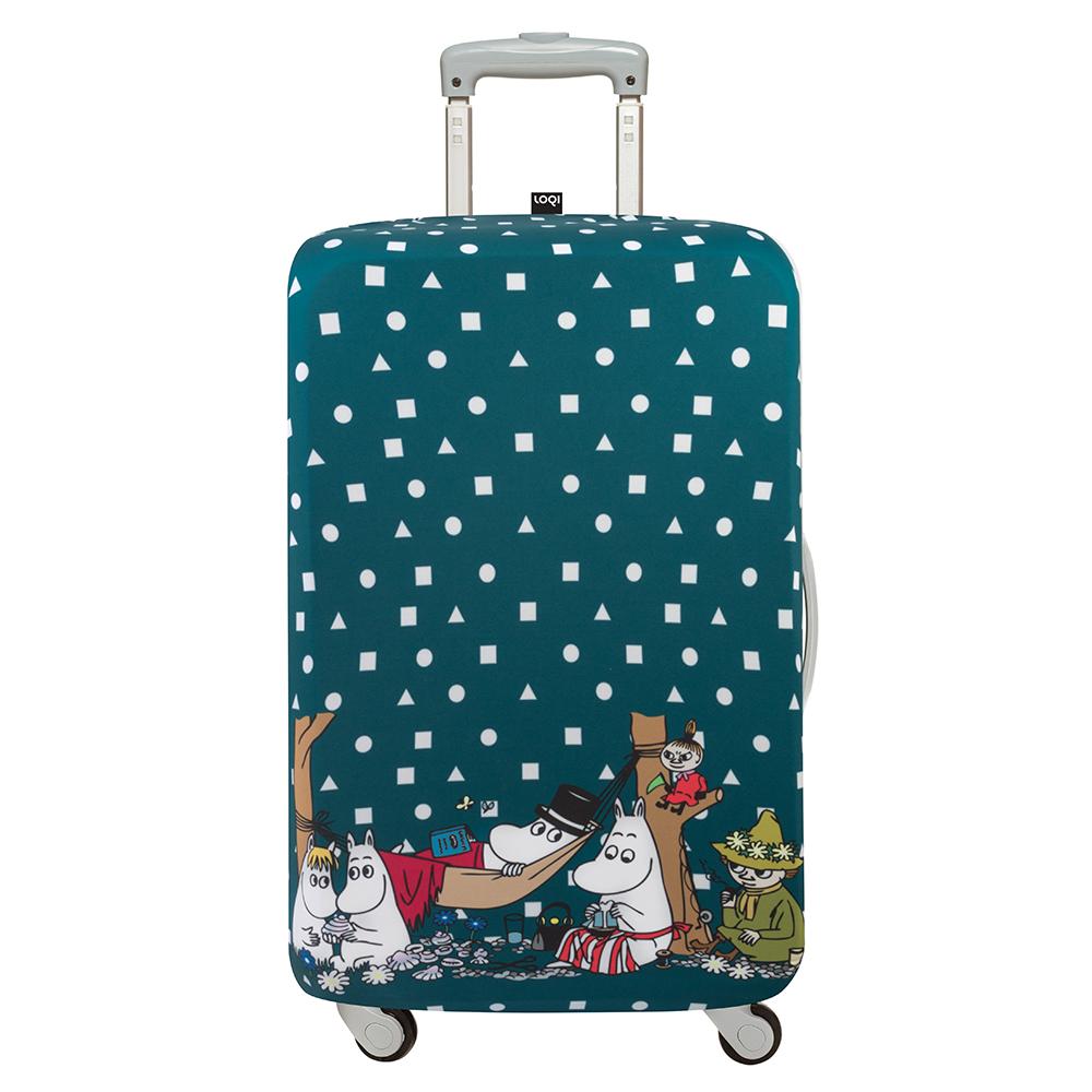LOQI 行李箱保護套-Moomin 家族(M號 適用22-27吋行李箱)