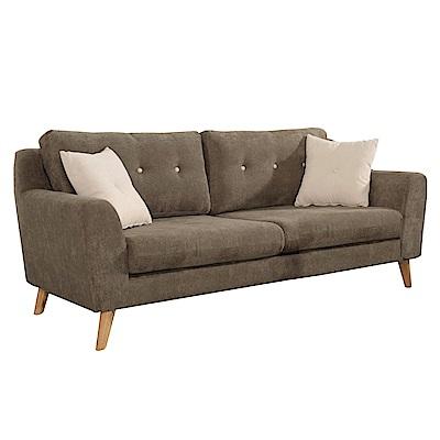 品家居 曼德爾綠絲絨布實木沙發三人座-178x91x75.5cm-免組