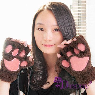 Decoy-療癒熊爪-掛繩絨毛露指手套-兩色可選