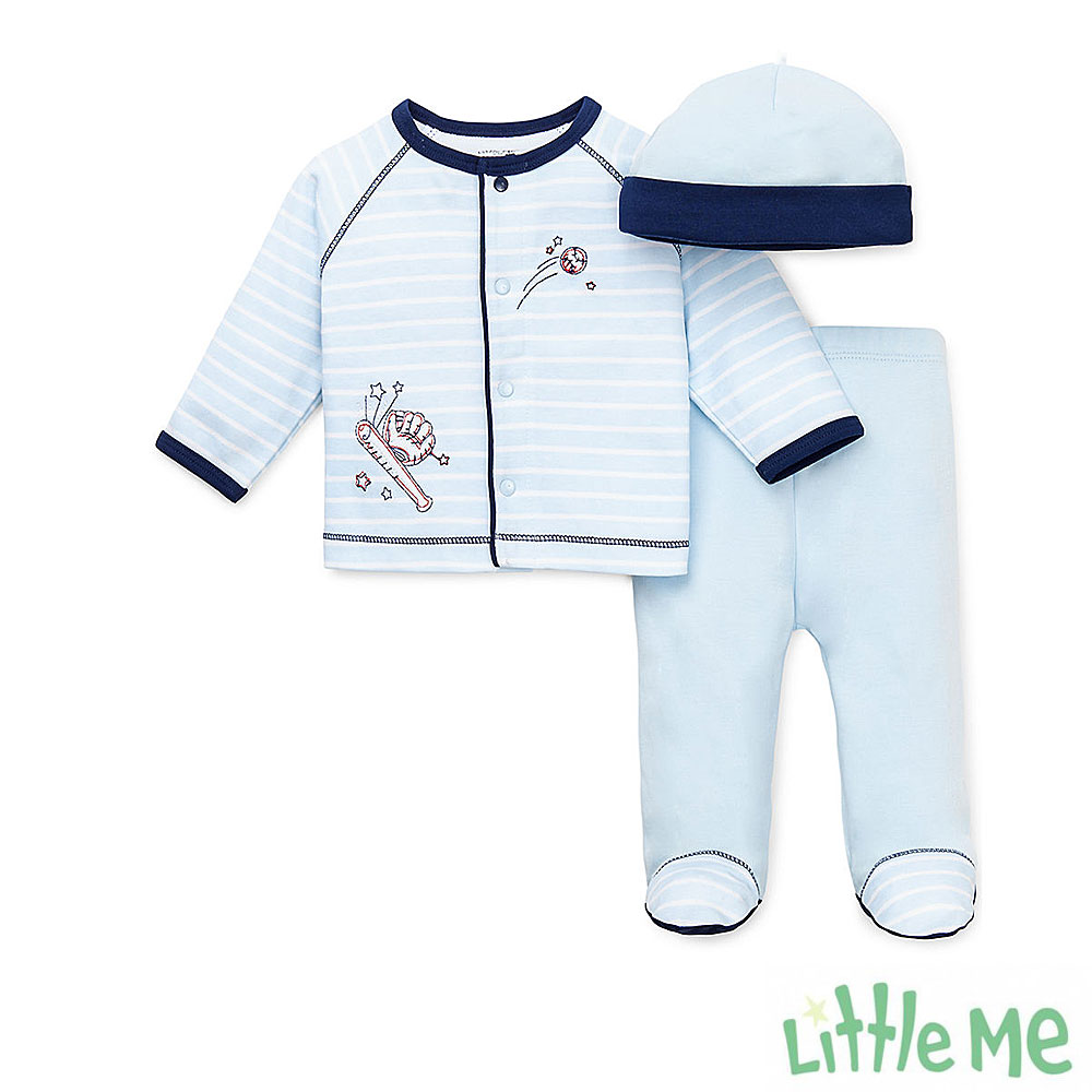 Little Me 藍條紋棒球長褲帽子 套裝三件組