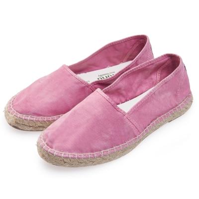 (女)Natural World 西班牙休閒鞋 麻邊素色款*粉色