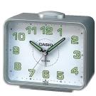 CASIO 夜間指針桌上方型簡約鬧鐘(TQ-218-8D)-銀X白面