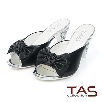 TAS 抓褶蝴蝶結寶石鞋跟涼拖鞋-搶眼黑