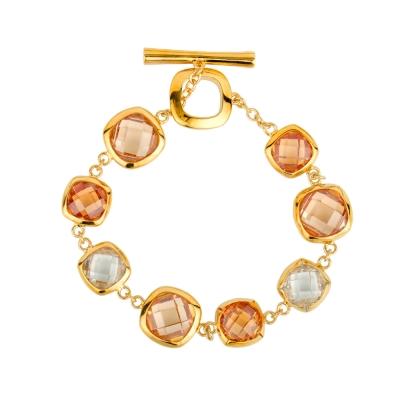 微醺禮物 施華洛世奇水晶元素 金色方鑽 手鍊