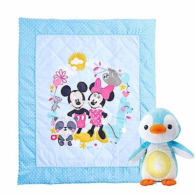 Disney-動物米奇水洗舒適薄被-安撫企鵝舒眠組