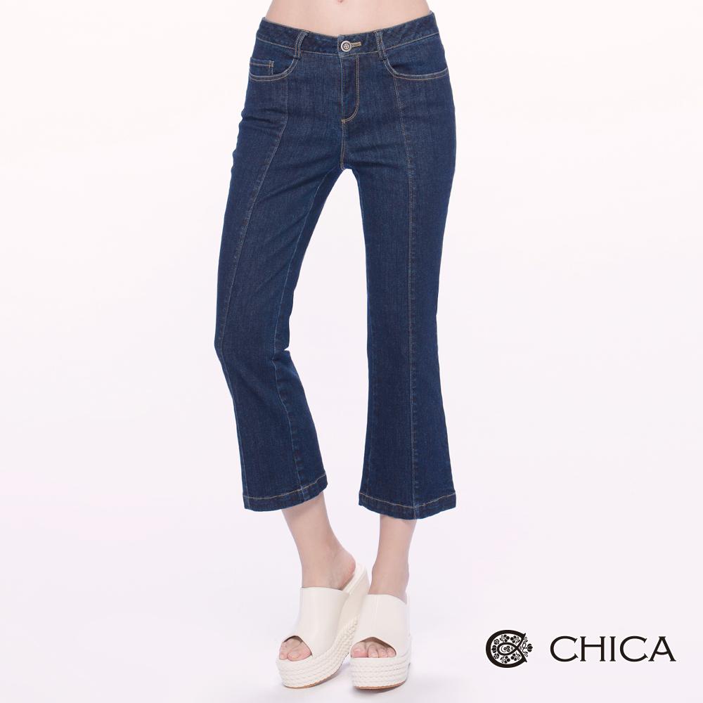 CHICA 自信摩登藍色喇叭牛仔褲(1色)