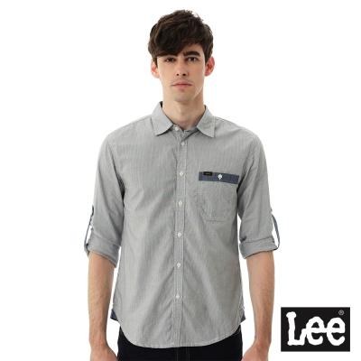 Lee 條紋長袖襯衫- 男款-藍