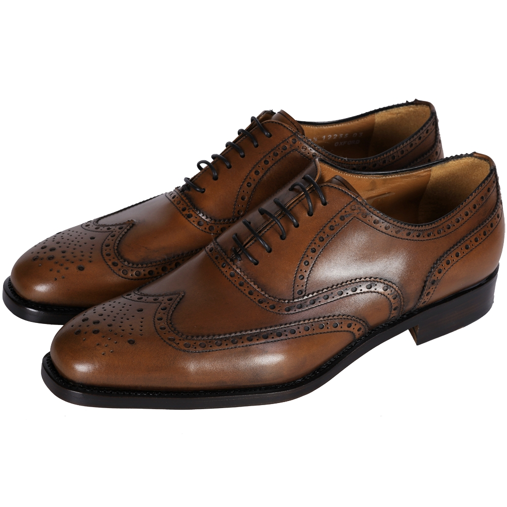 MORESCHI 雕花皮革綁帶牛津鞋(男款/咖啡色)