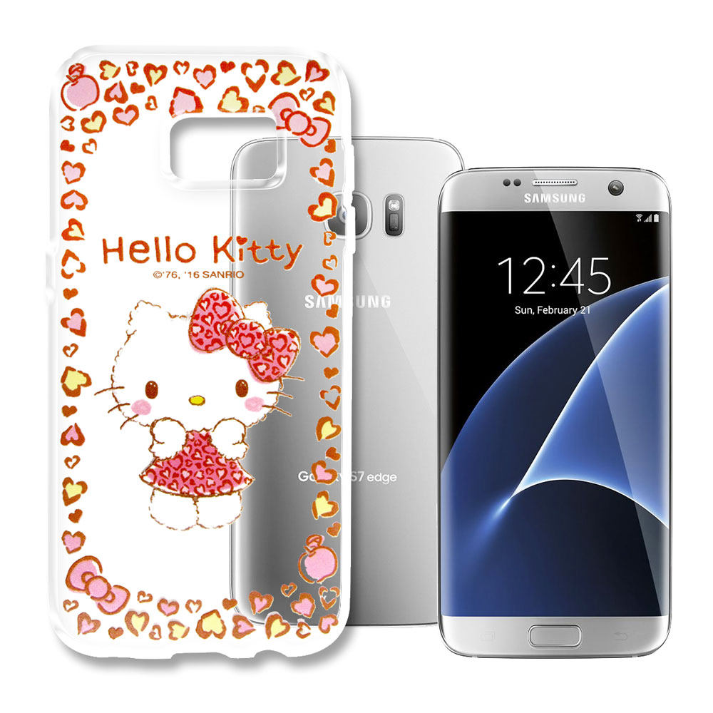 Hello Kitty三星Galaxy S7 Edge浮雕彩繪透明軟殼甜心豹紋