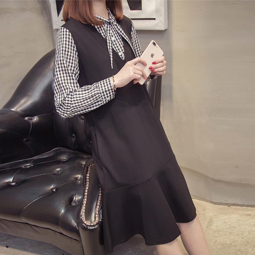 中大尺碼假兩件領巾綁帶黑白格子拼接魚尾裙擺洋裝L~4L-Ballet Dolly