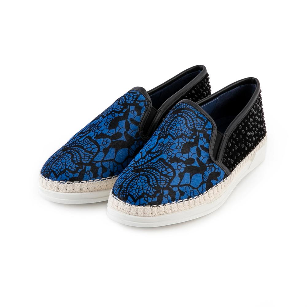 TAS 花紋馬毛拼接黑鑽裝飾slip-on懶人鞋-亮眼藍