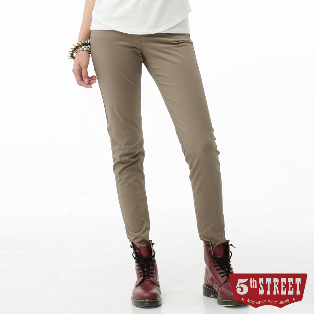 5th STREET 取線修身顯瘦休閒色褲-女-褐色