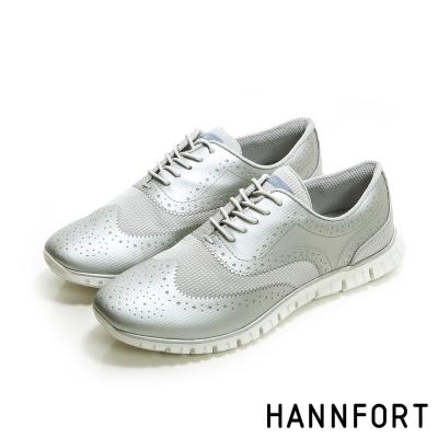 HANNFORT ZERO GRAVITY動感牛津翼紋雕花動能氣墊鞋-女-科技銀