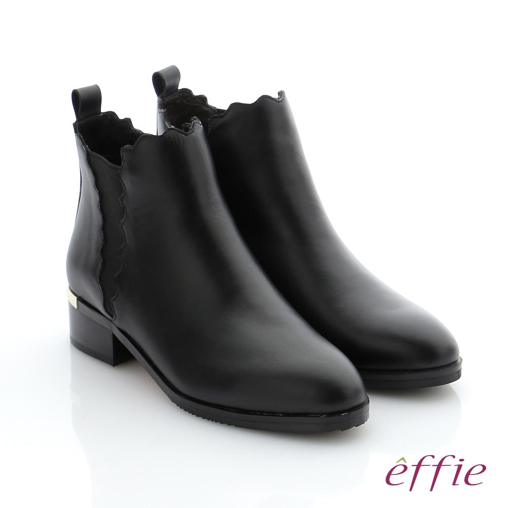 effie 心機美靴 真皮鬆緊帶拼接中筒靴 黑色