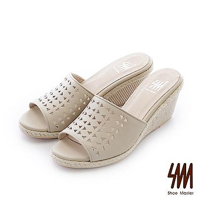 SM-台灣全真皮-楔型紋鏤空麻繩一字中高楔型拖鞋-米白