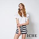 ICHE 衣哲 時尚藍白條紋字母印花造型短褲