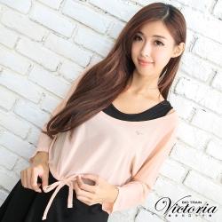 Victoria 兩件式外罩雪紡上衣-女-粉色