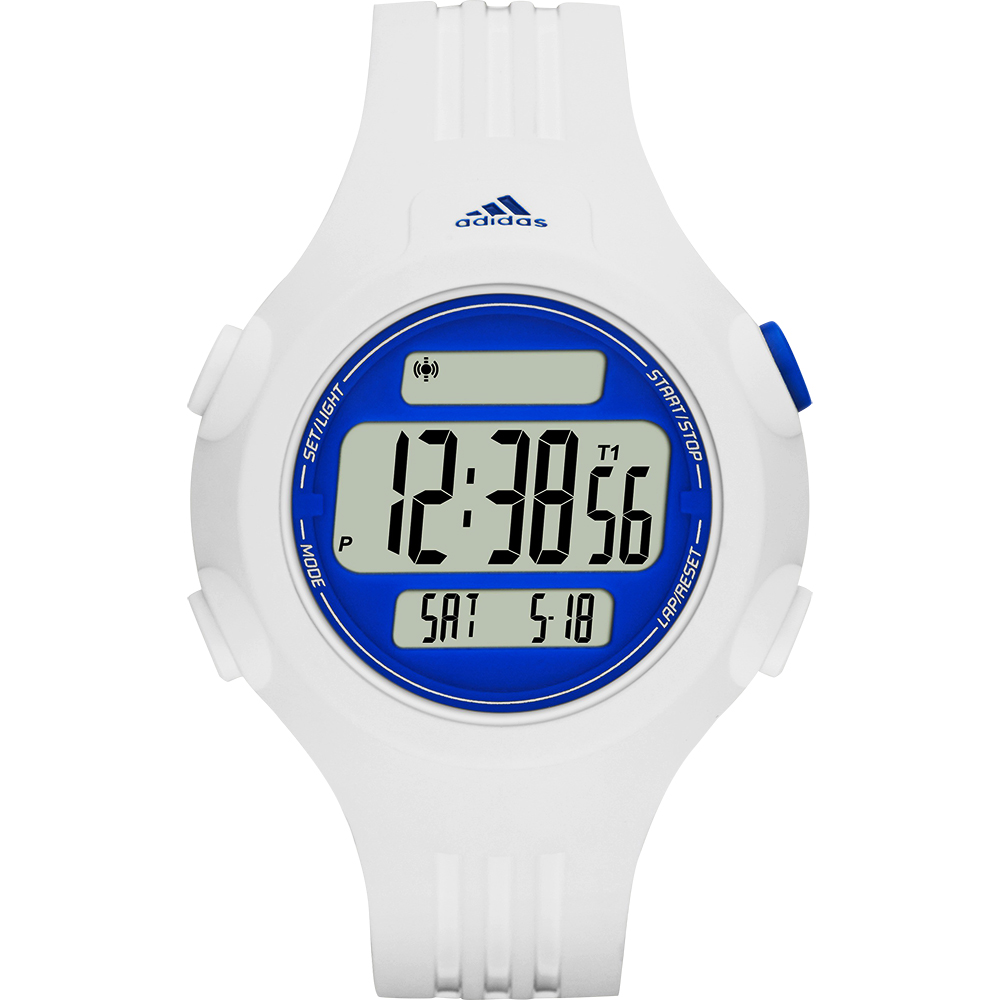 adidas精英休閒冷光電子腕錶-藍x白42mm