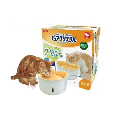 GEX 視窗型貓用淨水飲水器2.5L(橘色)附濾網一片