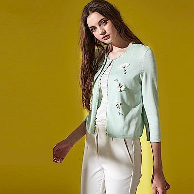 名媛立體造型花朵鑲飾親膚棉九分袖薄針織外套(兩色)-綠