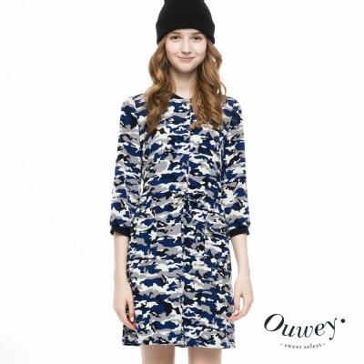 OUWEY歐薇-大口袋設計迷彩洋裝-藍