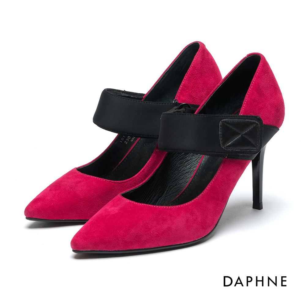 達芙妮DAPHNE 高跟鞋-復古風麂皮魔鬼氈高跟鞋-桃紅