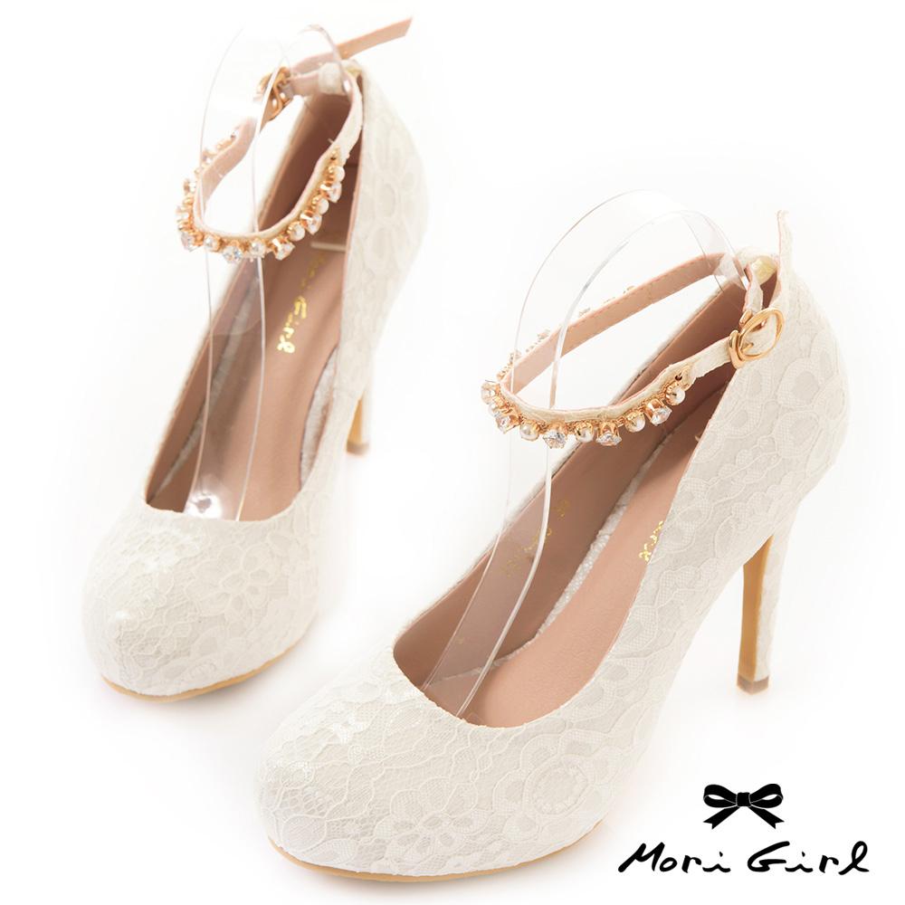 Mori girl水鑽繫帶滿版手工蕾絲高跟婚鞋 白