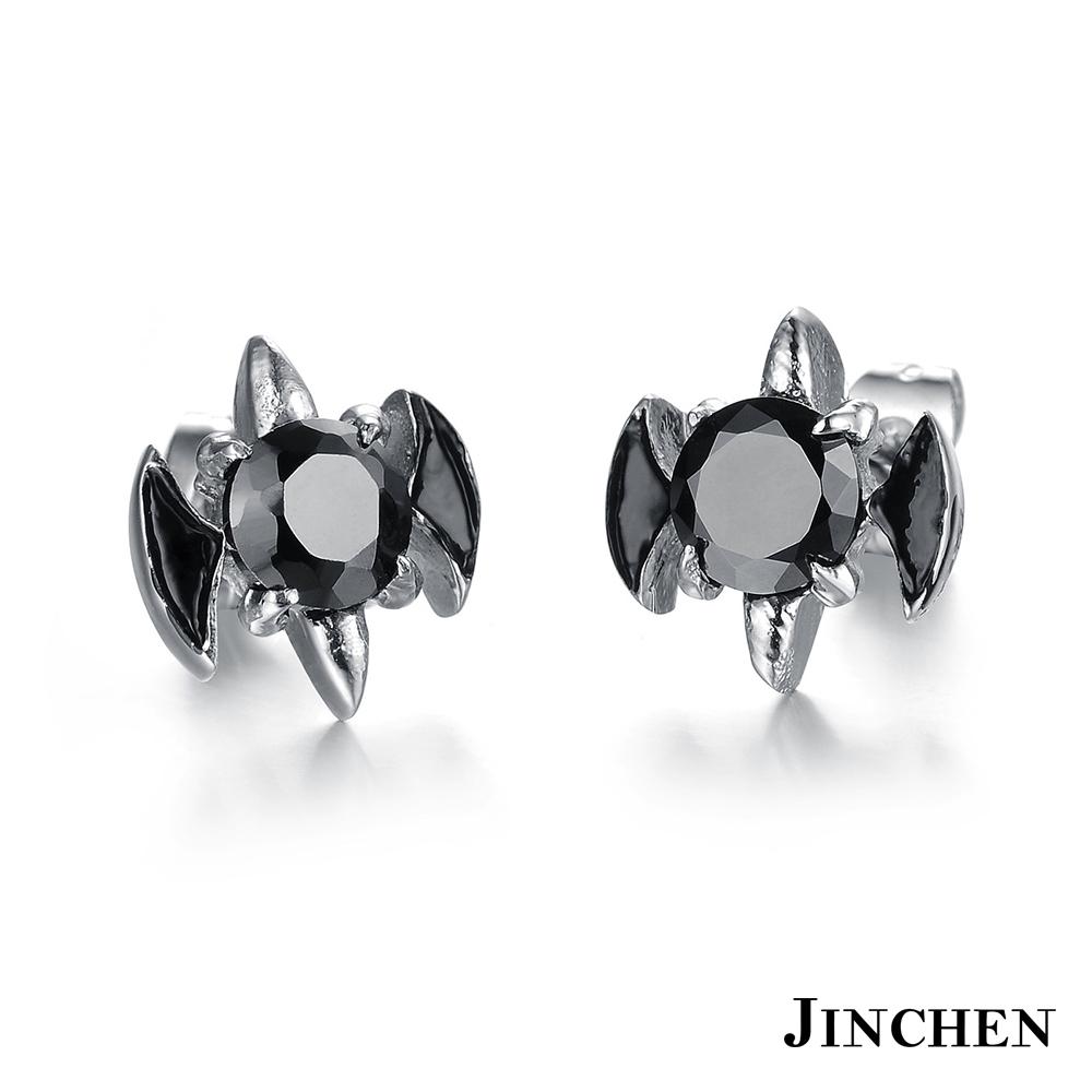 JINCHEN 白鋼蝙蝠耳環 黑鑽(單個價)