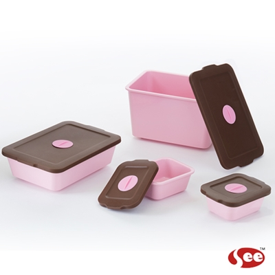 Breere 會呼吸的保鮮盒方形四件禮盒套組(2色)