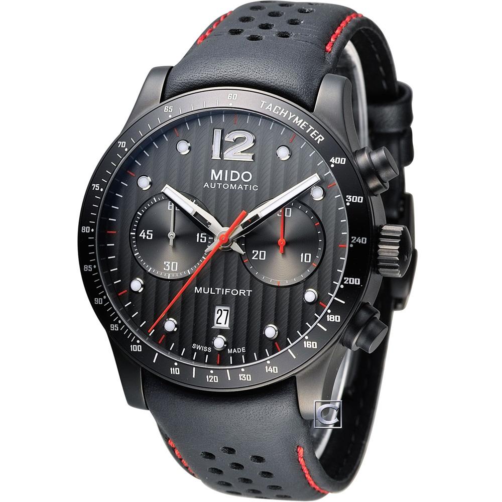 MIDO 美度 Multifort 先鋒系列60小時計時機械錶-黑/黑框/44mm