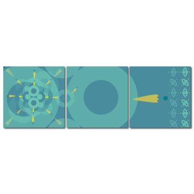 123點點貼- 三聯式無痕創意壁貼 - 藍極光30*30cm