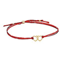【Dogeared】美國品牌 Friendship 金色雙愛心手鍊 紅色絲繩