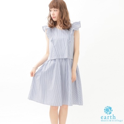earth music V領荷葉邊設計無袖洋裝