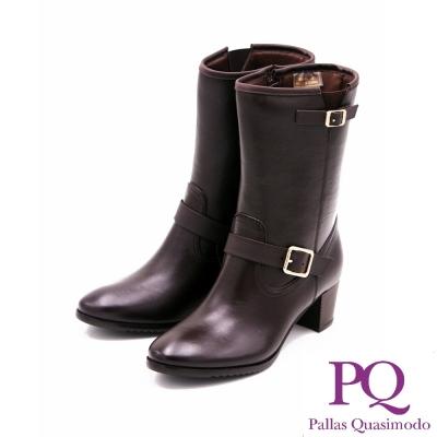 PQ 防水台真皮中跟中筒靴 女鞋-咖(另有黑)