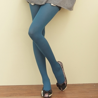 I-shi  秋冬雜誌-推薦款直條紋內搭襪(土耳其藍)