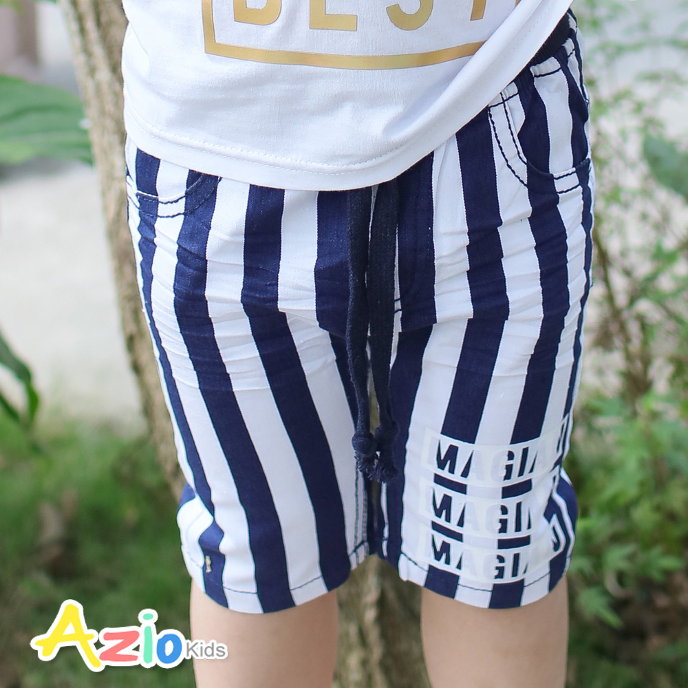 Azio Kids-直條紋黑白配字母綁帶鬆緊短褲(藍)