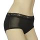 三角褲 100%蠶絲法式蕾絲中腰內褲2件組M-XL(黑) Seraphic product thumbnail 1