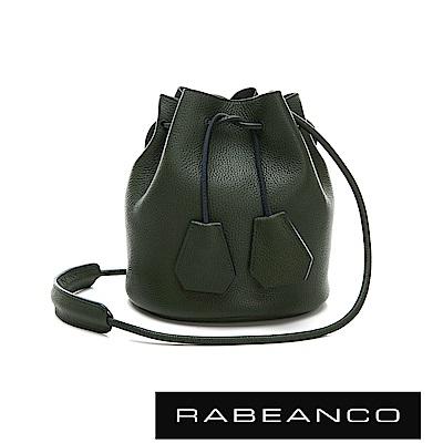 RABEANCO 真皮荔枝紋經典束口水桶包 - 暗雲杉綠