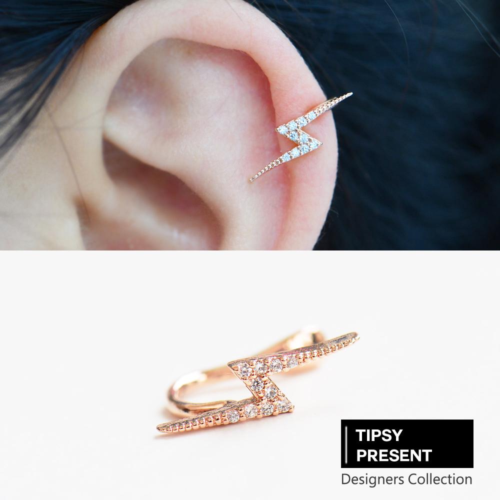 微醺禮物韓製鋯石鍍16K金個性閃電耳環