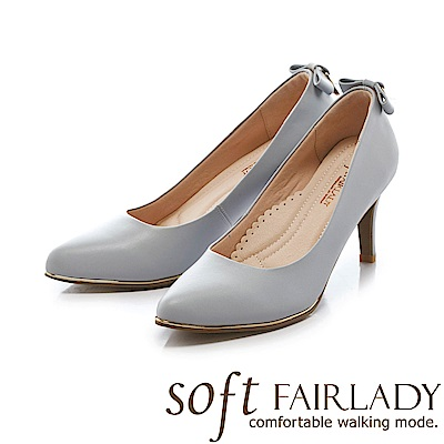 Fair Lady soft芯太軟 浪漫蝴蝶結方鑽尖頭高跟鞋 藍