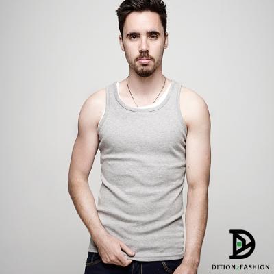 DITION-高彈力運動健身棉質圓領背心